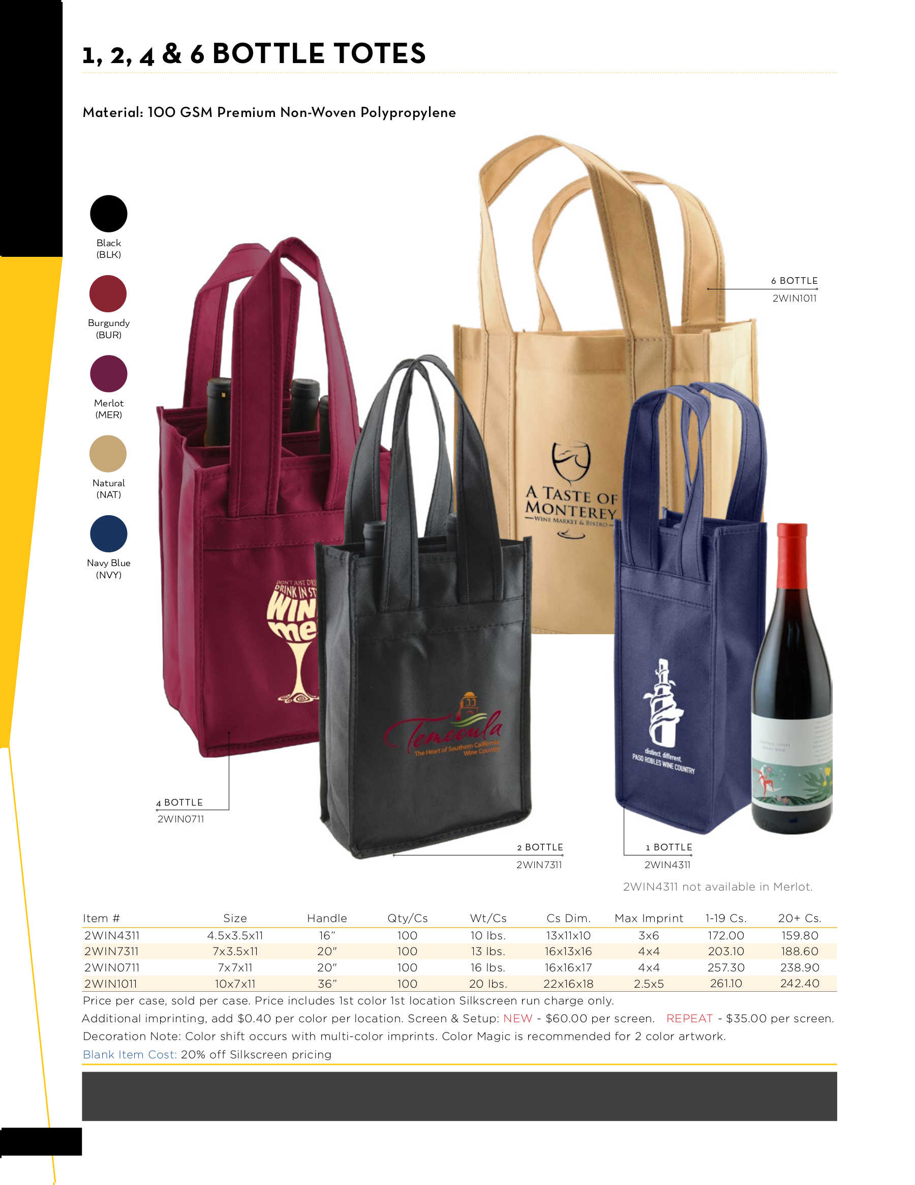1, 2, 4 and 6 Bottle Wine Totes