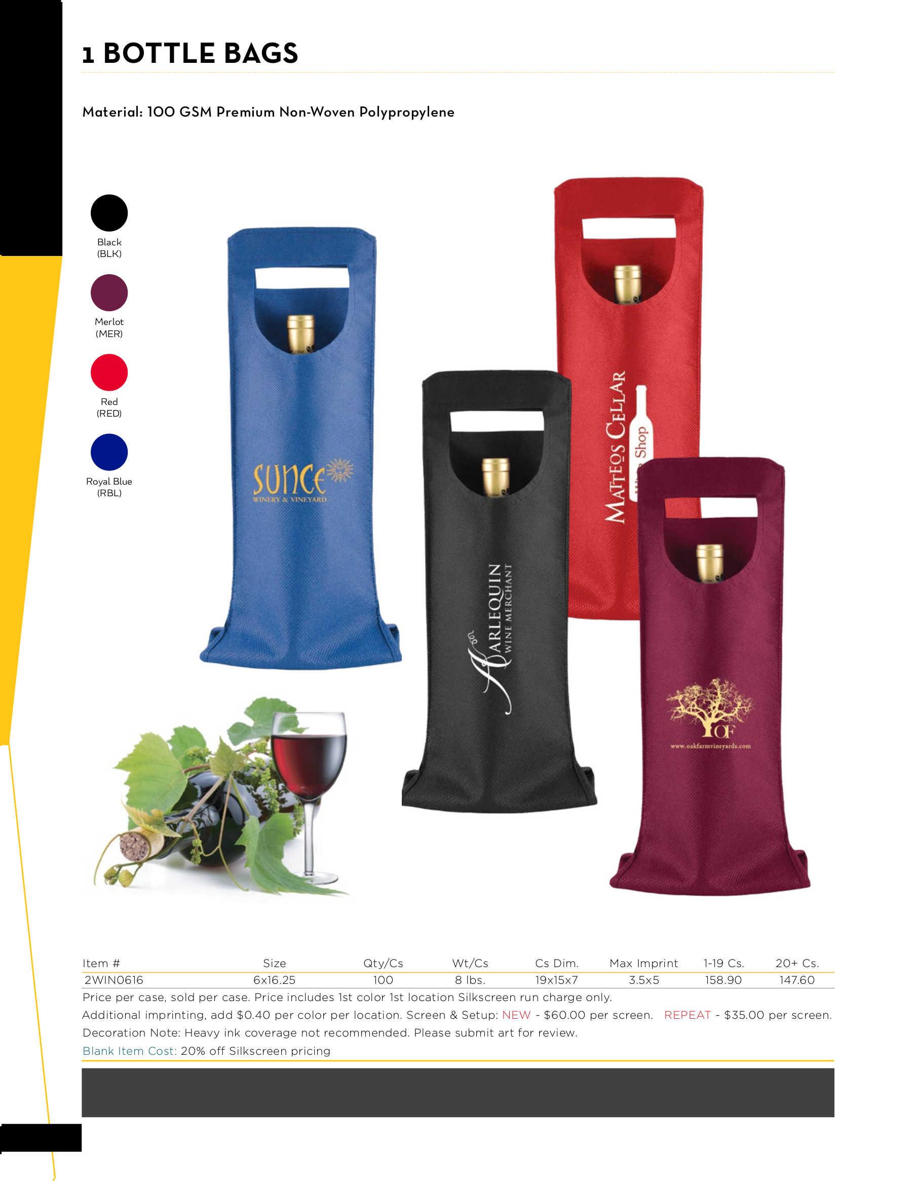 1 Bottle Wine Bags