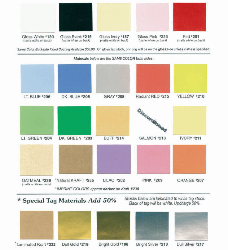 Hang Tag Material Colors