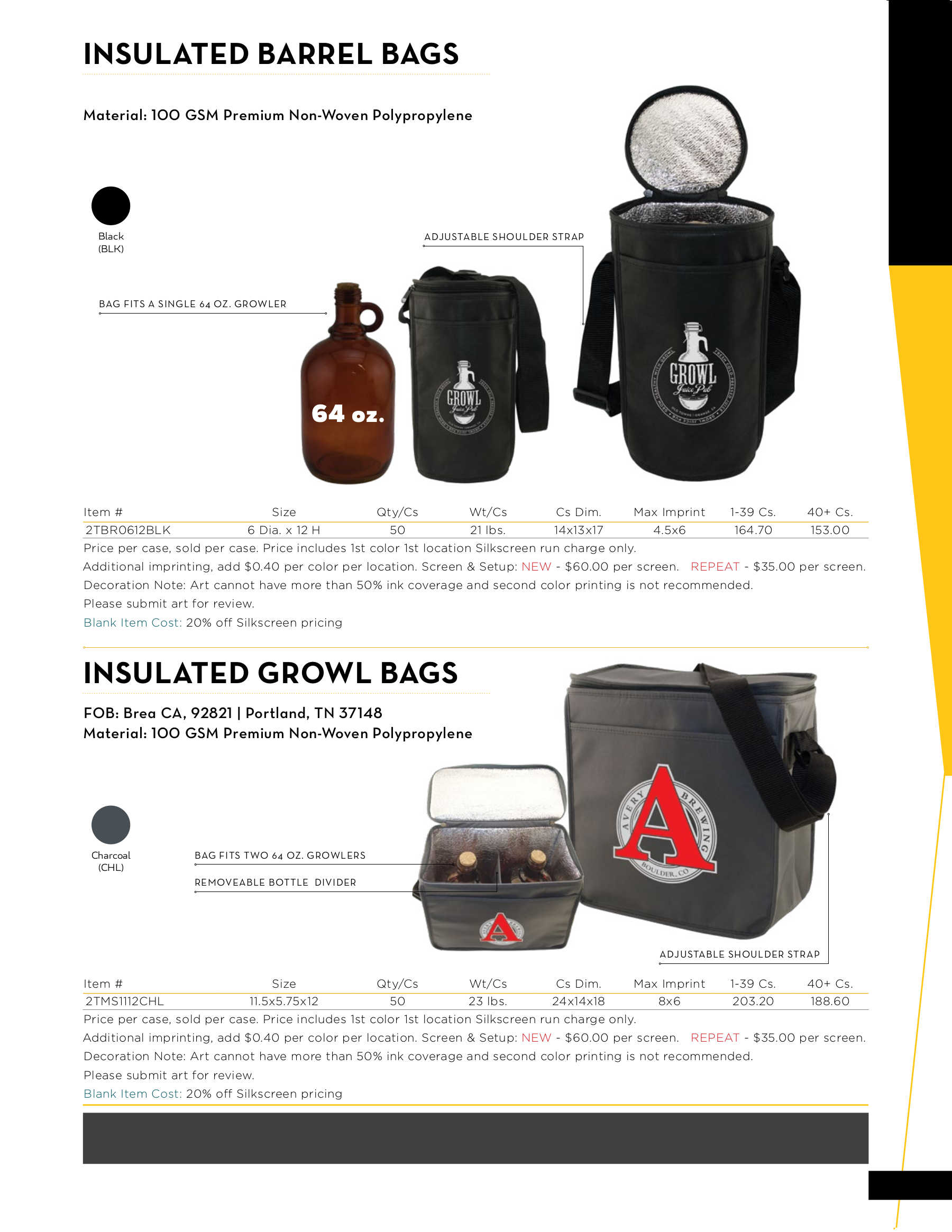 Insulated Barrel and Growl Bags