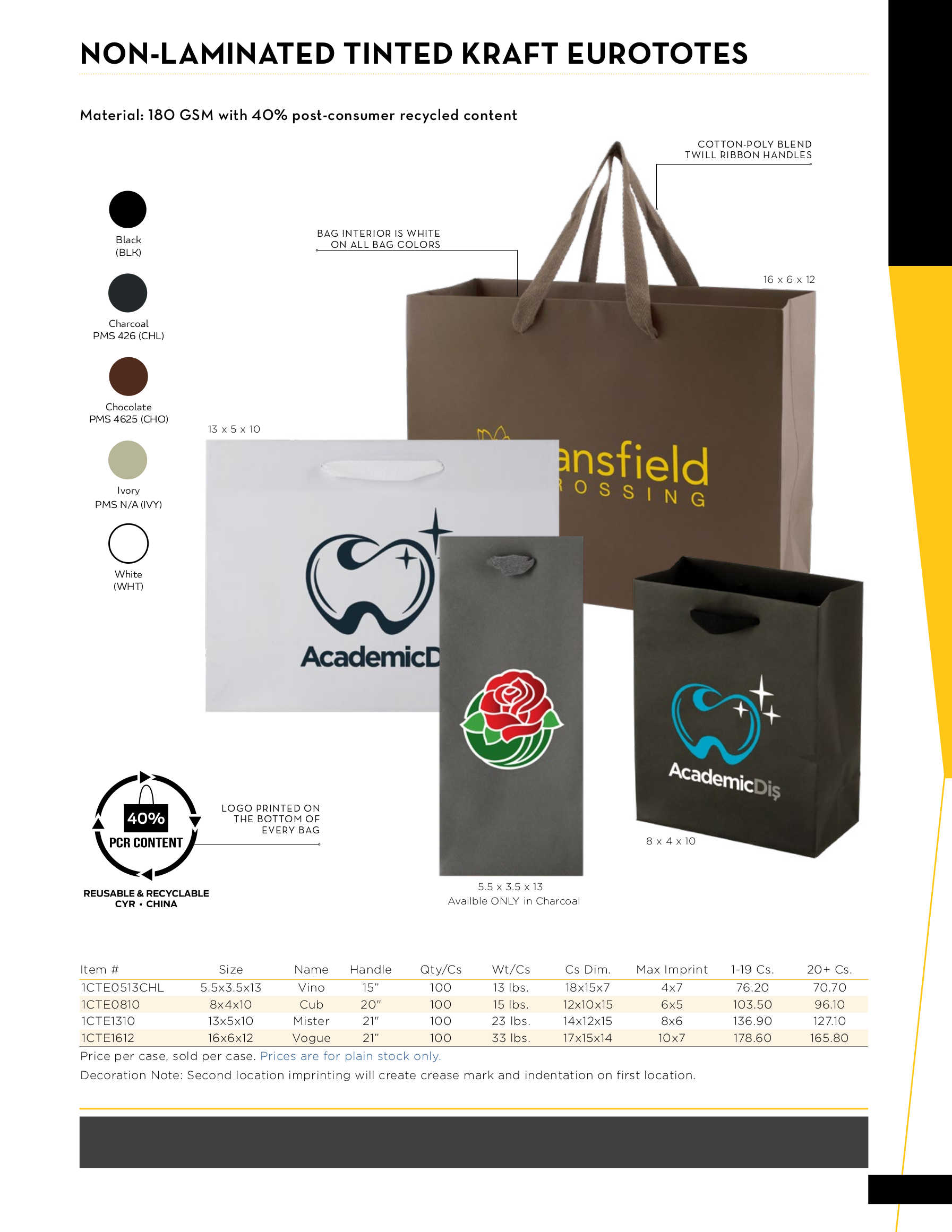 Non-Laminated Tinted Kraft Euro Totes