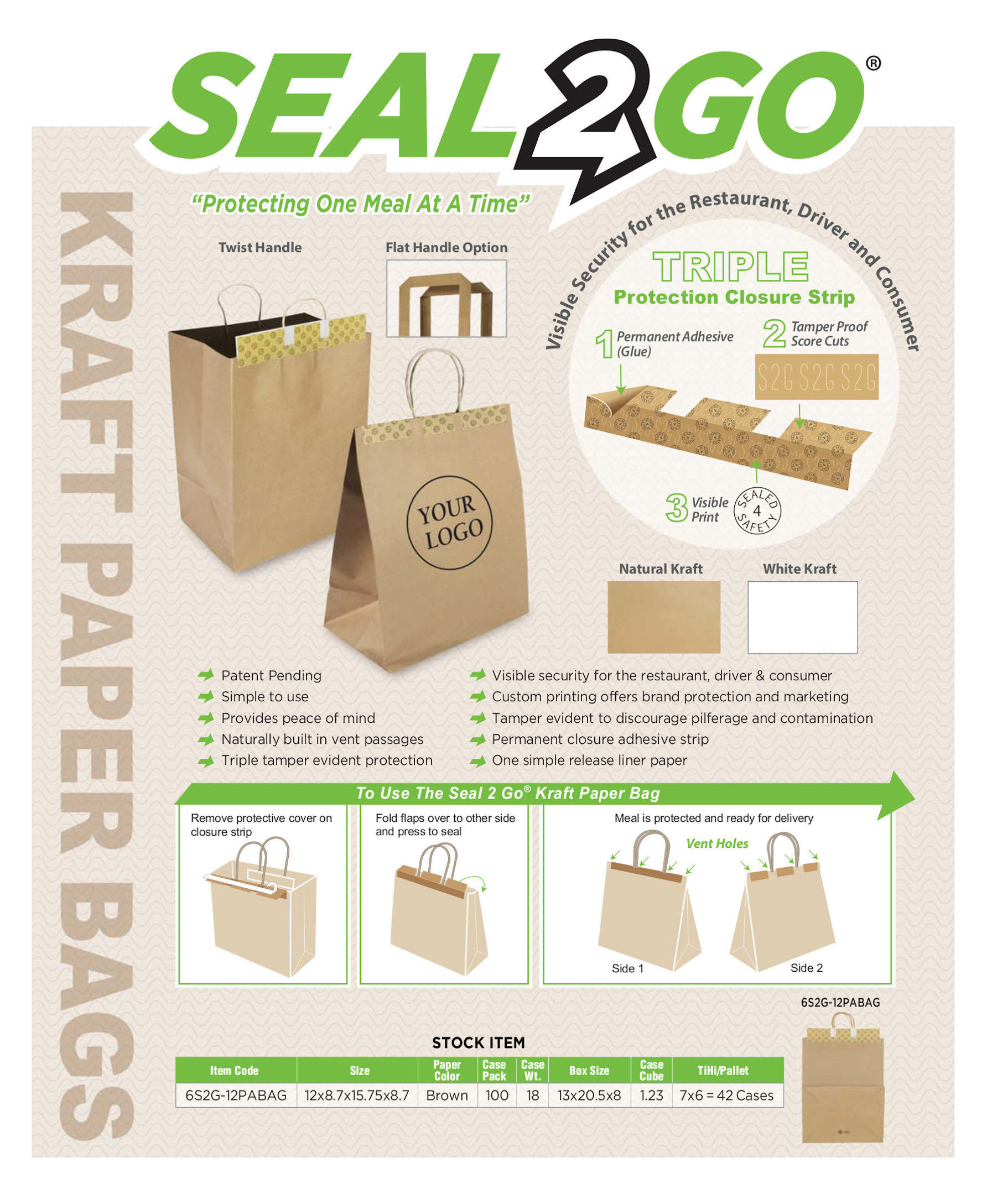 Paper Tamper Evident TO-GO-Bags
