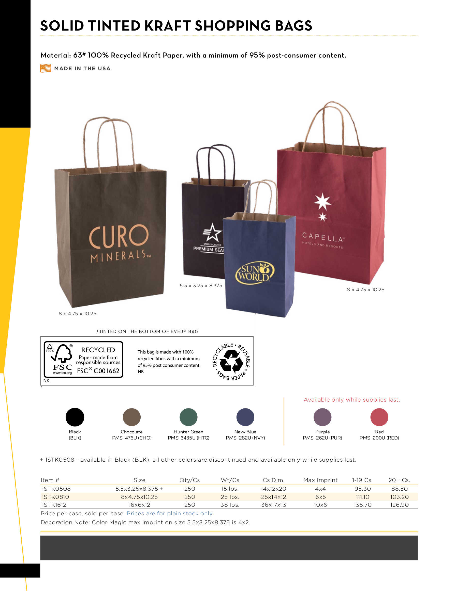 Solid Tinted Shopping Bags