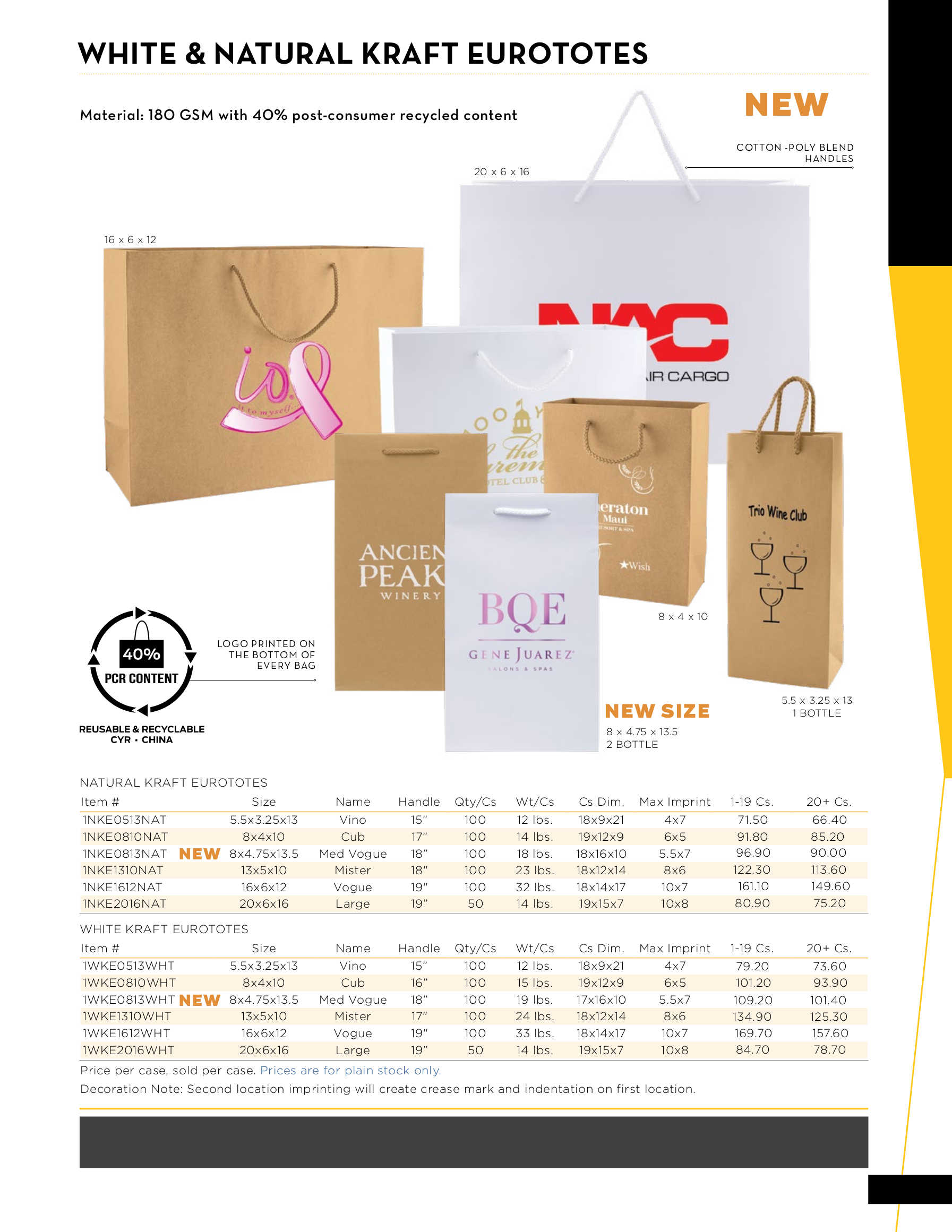 White and Natural Kraft Euro Totes